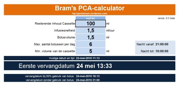 hoofdscherm van de PCA calculator
