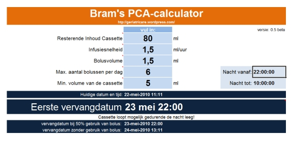 PCA-calculator nachtalarm